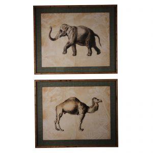Brookby Set of 2 Framed Camel and Elephant Wall Art 1