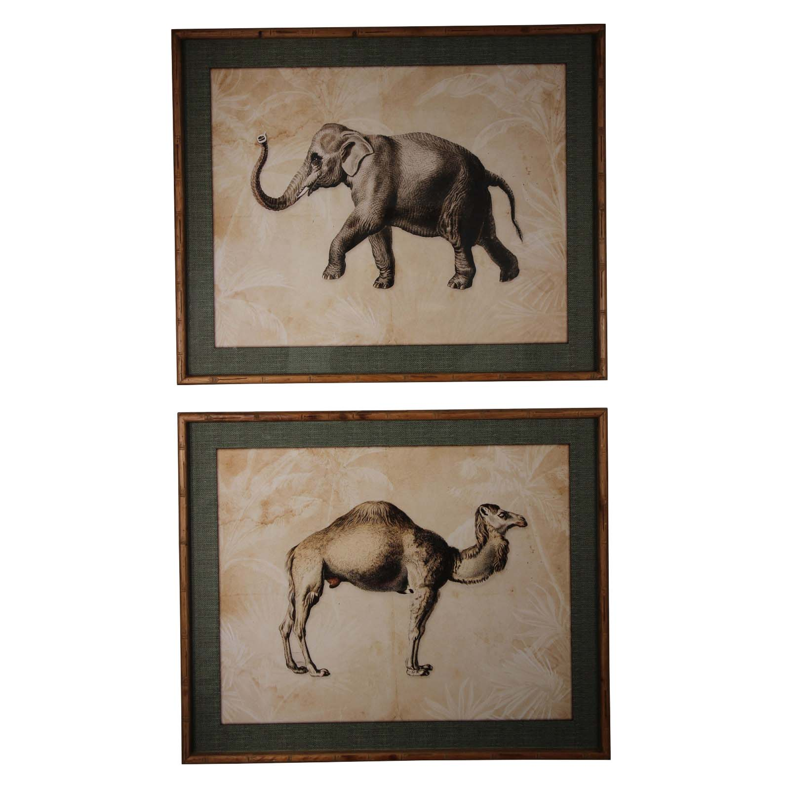 Brookby Set of 2 Framed Camel and Elephant Wall Art 1