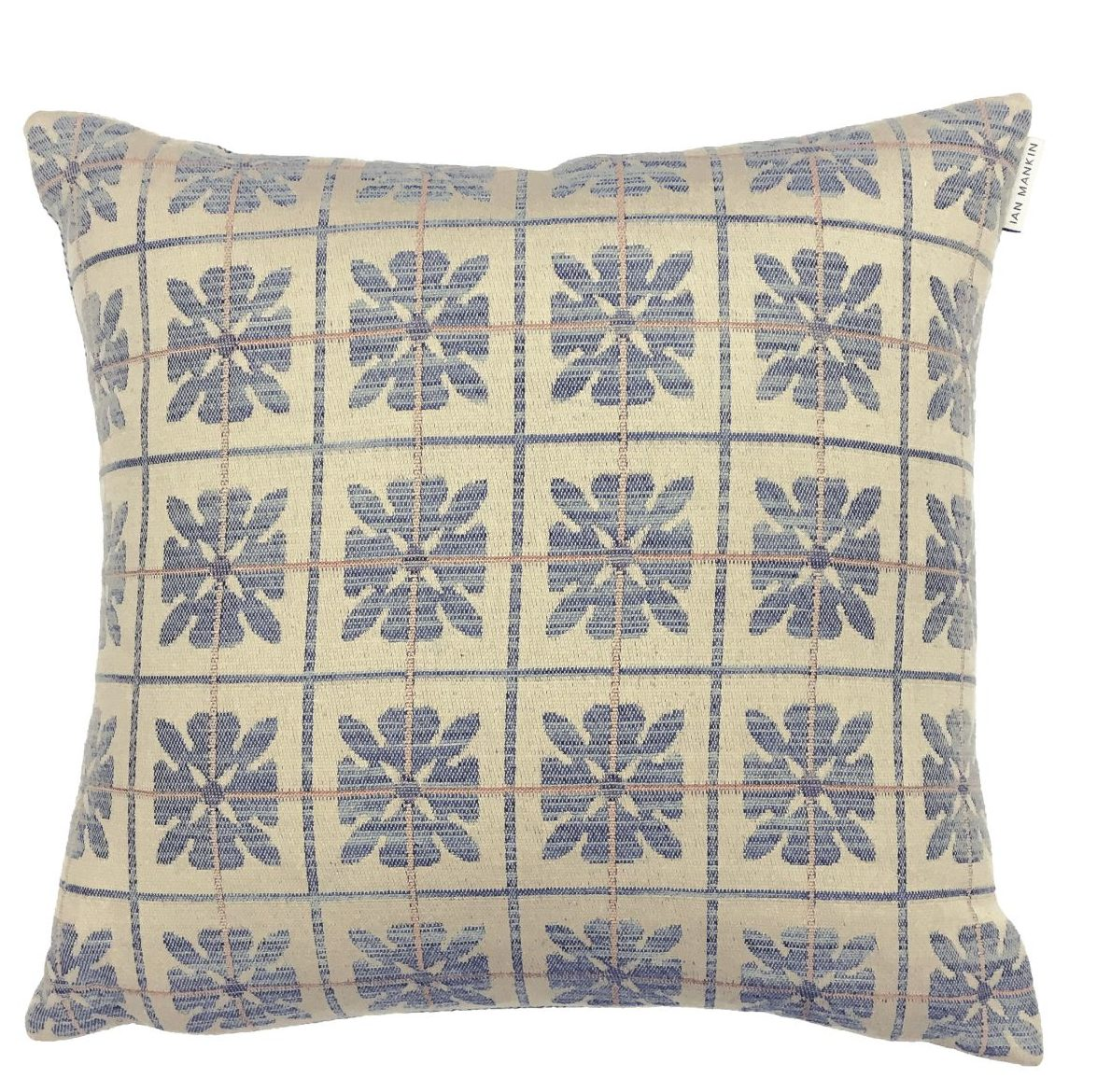 Ian Mankin Landmark 1485 Peakes Check Checked Monarch Blue Cushion CU282 200 4040