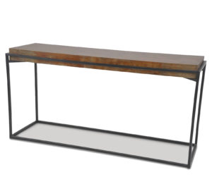 Richmond Elm Console Table with Rustic Black Iron Frame 1