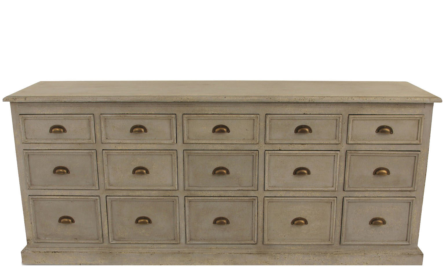 Richmond Fifteen Drawer Colonial Grey Console Table 1