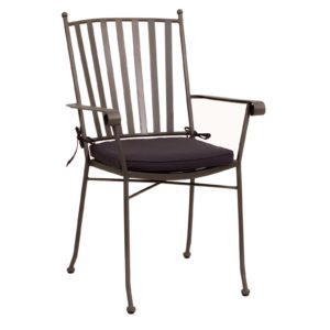 Winchester Matte Grey Outdoor Arm Chair With Cushion 1