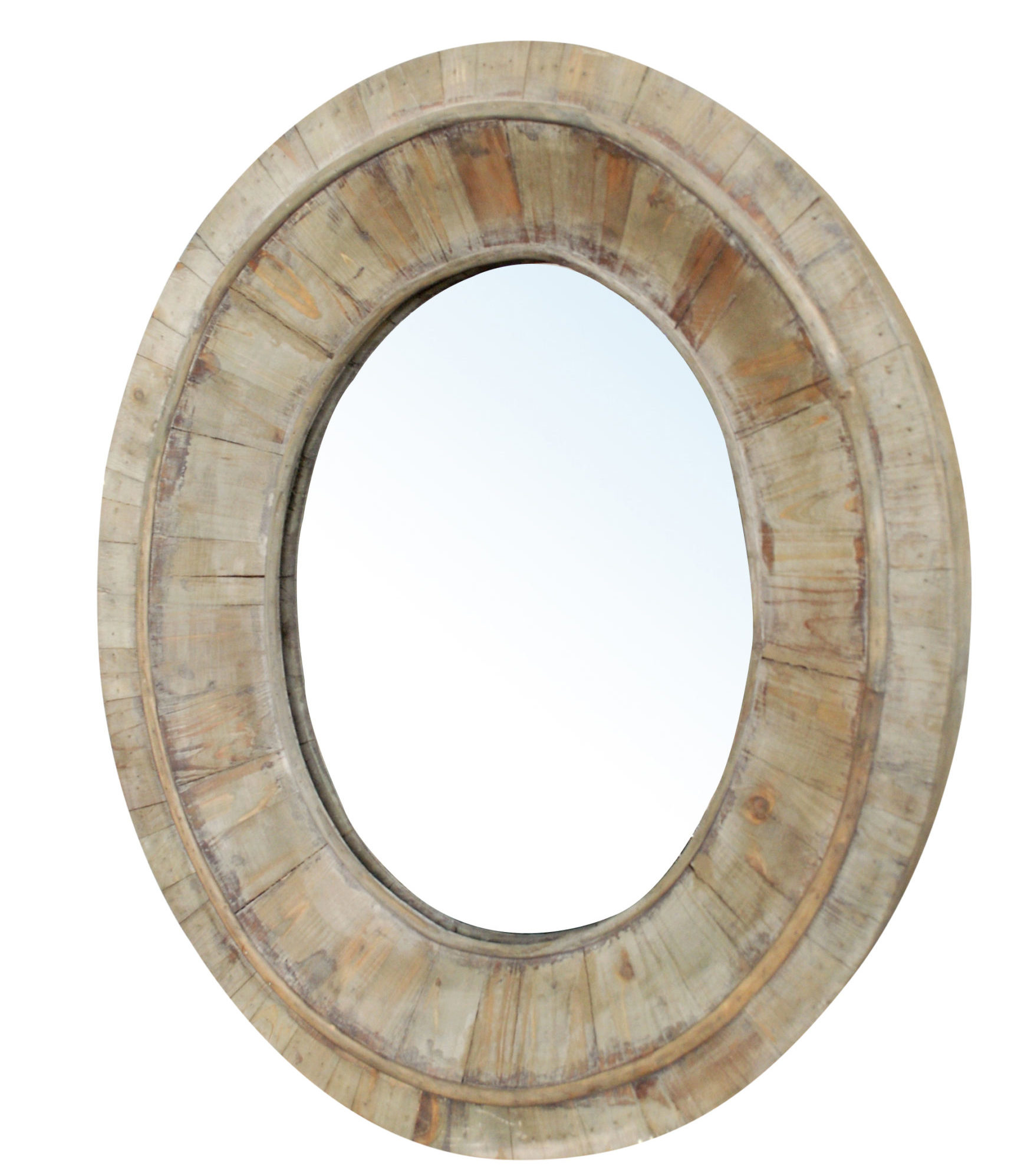 Wooden Oval Mirror