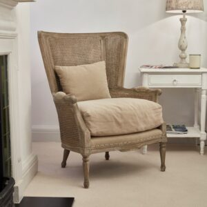 Marlborough Oak Salon Bergere Chair With Linen Cushions v