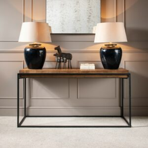 Woodcroft Elm Console Table with Rustic Black Iron Frame v