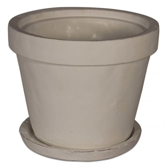 Ludlow Large White Stone Planter With Saucer 1