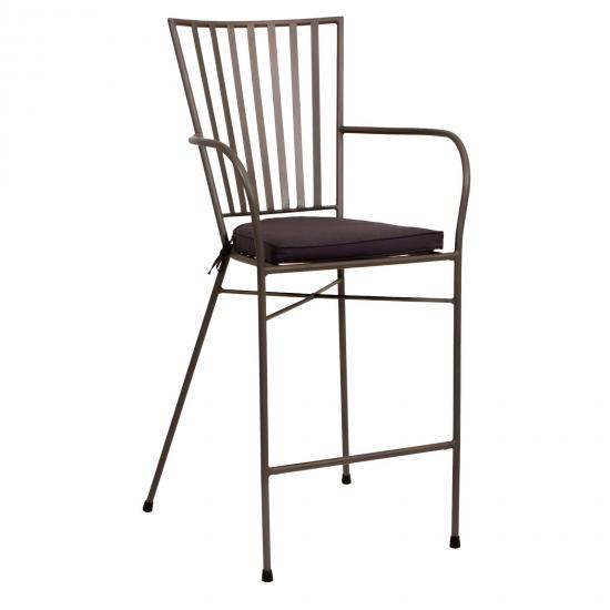 Winchester Matte Grey Outdoor Bar Stool With Cushion 1