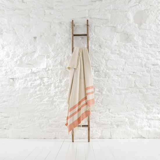 Herringbone Stripe Striped Parchment Throw THW293 203