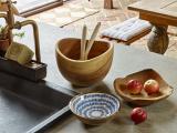 Enamel Mango Wood Bowl