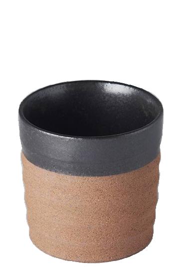 Grooved Black Dark Clay Mug